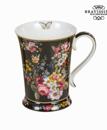 xekios Tasse en porcelaine bloom black - Collection Kitchen's Deco by Bravissima Kitchen