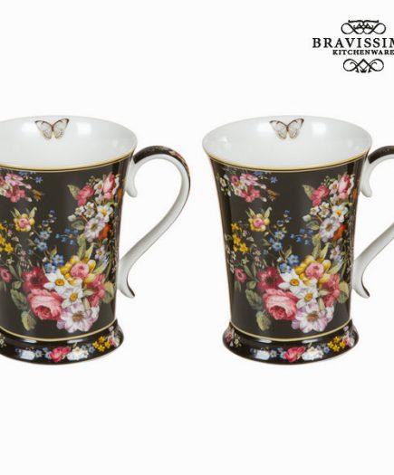 xekios Lot de 2 tasses bloom black - Collection Kitchen's Deco by Bravissima Kitchen