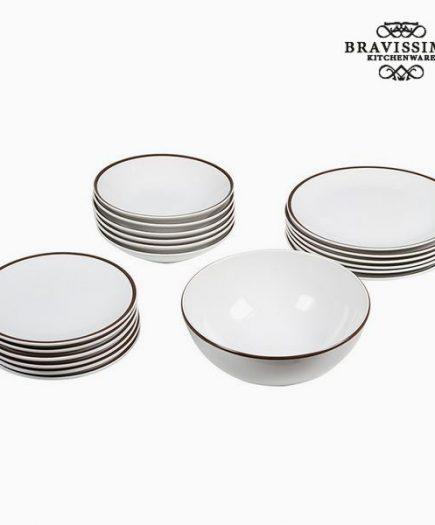 xekios Assietes (19 pcs) Vaisselle Blanc Marron - Collection Kitchen's Deco by Bravissima Kitchen