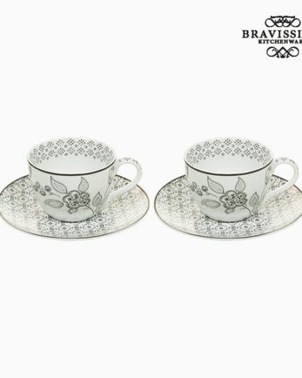 xekios Ensemble de 2 tasses à café Porcelaine Blanc Noir (2 pcs) by Bravissima Kitchen