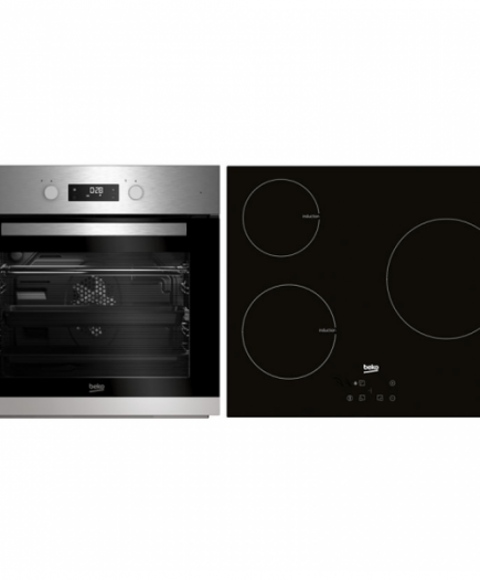 xekios Combiné four et plaques vitro-céramiques BEKO BSE22341X 65 L Touch Control 5900W Acier inoxydable Noir