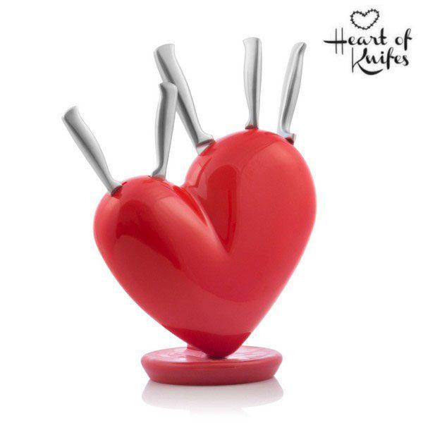 xekios Jeu de Couteaux avec Support en forme de Cœur Heart of Knives