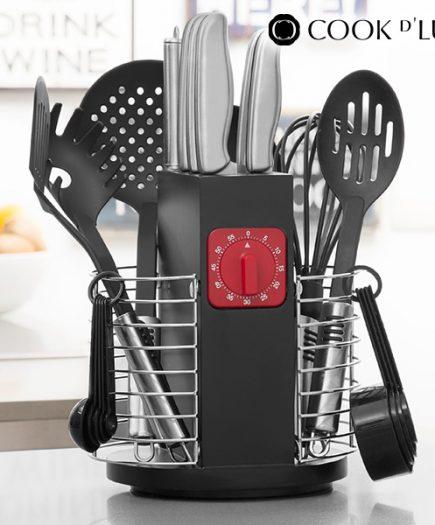 xekios Ustensiles de Cuisine avec Minuteur et Support Cook D'Lux (24 pièces)