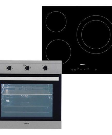 xekios Combiné four et plaques vitro-céramiques BEKO 202045 65 L TouchControl Inox Acier Noir