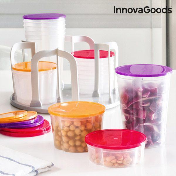 xekios Set de Boîtes Alimentaires Empilables avec Support Pivotant InnovaGoods (49 pièces)