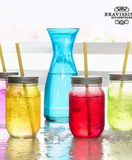 xekios Bouteille avec 4 Bocaux en Verre Vintage Colors Bravissima Kitchen