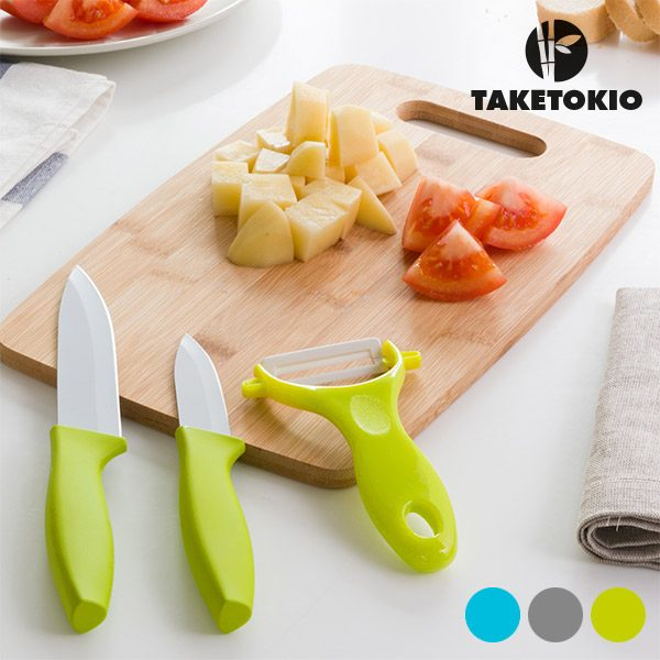 xekios Couteaux en Céramique avec Planche en Bambou TakeTokio (4 pièces)