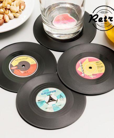 xekios Dessous de Verre Rétro Disques Vinyles (lot de 4)