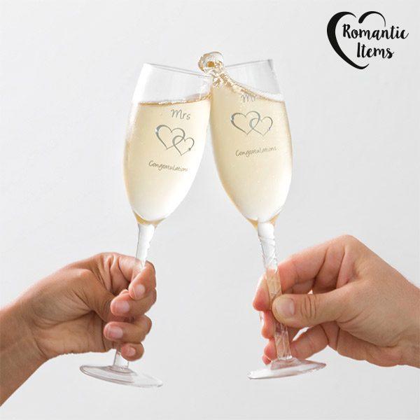xekios Verres à pied Mr & Mrs Congratulations Romantic Items (pack de 2)
