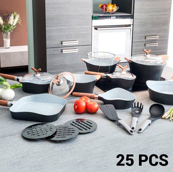 xekios Poêles et Batterie de Cuisine Black Premium 10143502 (25 pièces)
