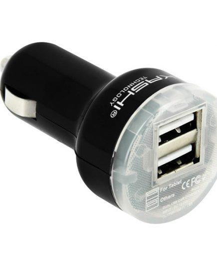 xekios Chargeur USB pour Voiture Akashi ALT2USBCARCH USB x 2 2.4 A Noir