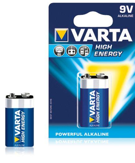xekios Pile Alcaline Varta 9 V 580 mAh High Energy Bleu
