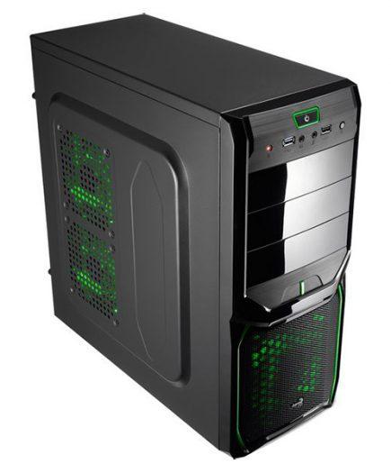 xekios Boîtier ATX semi-tour Aerocool ICACSM0182 V3XADBG USB 3.0 Green Edition Midi-Tower Noir
