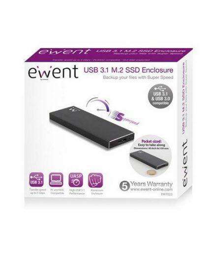 xekios Boîtier Externe Ewent EW7023 SSD M2 USB 3.1 Aluminium