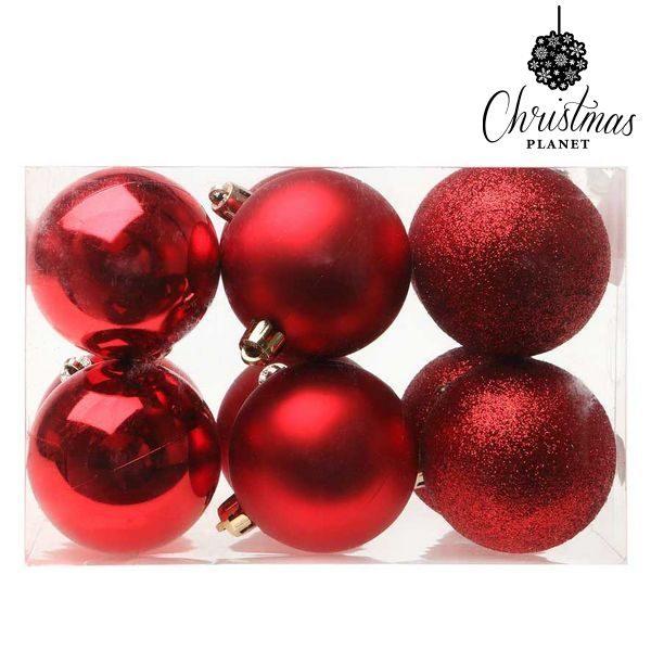 xekios Boules de Noël Christmas Planet 5412 6 cm (12 uds) Plastique Rouge