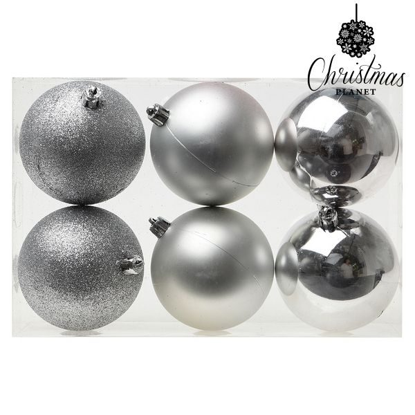 xekios Boules de Noël Christmas Planet 8121 8 cm (6 uds) Argenté