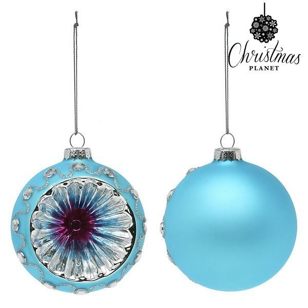 xekios Boules de Noël Christmas Planet 1693 8 cm (2 uds) Verre Bleu