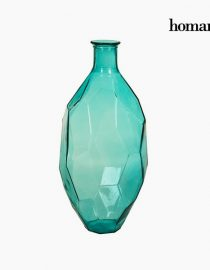 xekios Vase en Verre Recyclé Verre recyclé Turquoise (27 x 27 x 75 cm) by Homania
