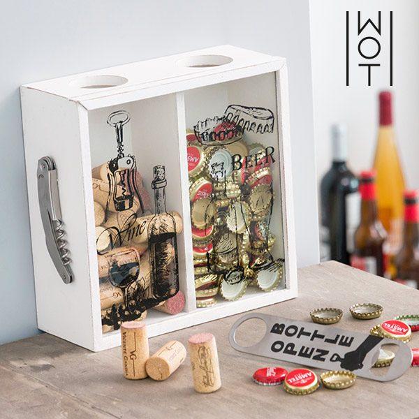 xekios Boîte Décorative pour Bouchons Beer & Wine Wagon Trend