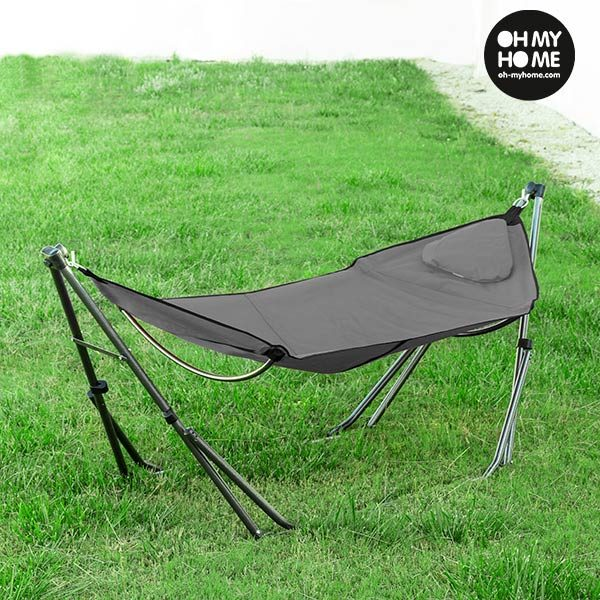 xekios Hamac Pliable avec Support Gris Oh My Home