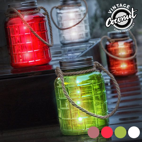xekios Bocal en Verre Décoratif avec LED Grange Vintage Coconut