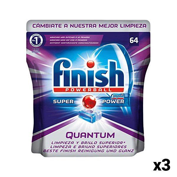 xekios Pastilles pour Lave-Vaisselle Finish Quantum 64 Unit. (Pack de 3)